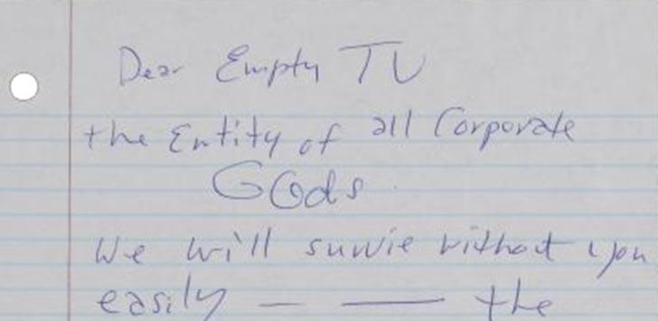 Kurt Cobain skrev till MTV. Skärmdump från Letters of note.