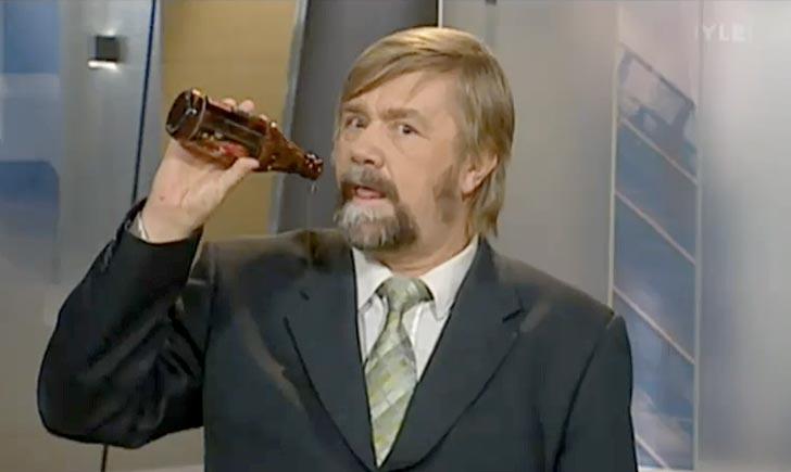 Kimmo Wilska i YLE News. Bild från Youtube.