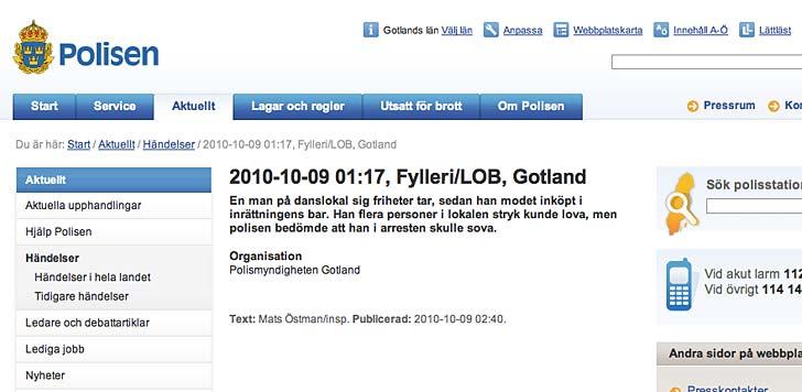 Polisrapport på vers. Skärmdump från Polisen.se