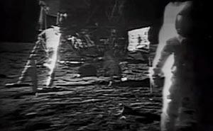 Månlandningsfilmen restaurerad. Bild från video.