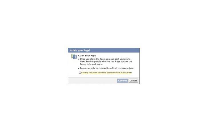 Varumärken kan ta över Facebook-sidor (skärmdump).