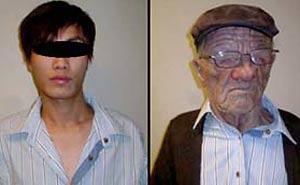 Gammal vit man blev ung asiat. Bild från video