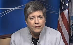 Janet Napolitano, USA:s minister med ansvar för inrikes säkerhet. Bild från video