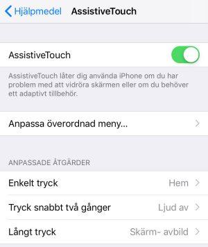 AssistiveTouch inställningar på iPhone. Foto: Skärmdump